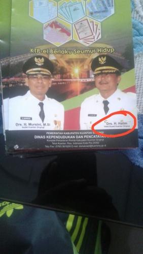 Ada Drs. H. Halim pada Brosur KTP-el, Plt Disdukcapil Kuansing: Mohon Maaf, Salah Cetak