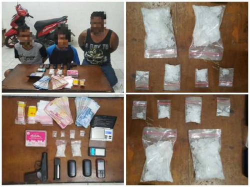 Polisi Amankan 3 Pengedar Sabu di Mandau, Satu Diantaranya Bawa Pistol dan Uang Puluhan Juta