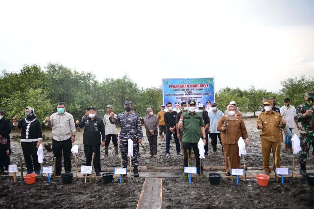 Kembangkan Destinasi Wisata Mangrove, Gubri dan Kadis LHK Riau Tanam 80 Ribu Bibit Bakau di Desa Mentayan