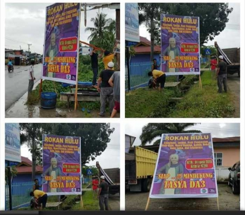 Demi Dukung Tasya di DAcademy 3 Indosiar, Warga Rohul Rame-rame Pasang Baliho