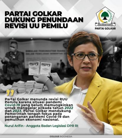InfoGrafis: Partai Golkar Dukung Penundaan Revisi UU Pemilu
