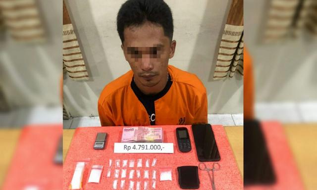 Polisi Tangkap Pengedar Narkoba di Tembilahan, 21 Paket Sabu Diamankan