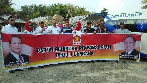 Partai Gerindra Riau Salurkan Bantuan Banjir ke Kecamatan Siak Hulu