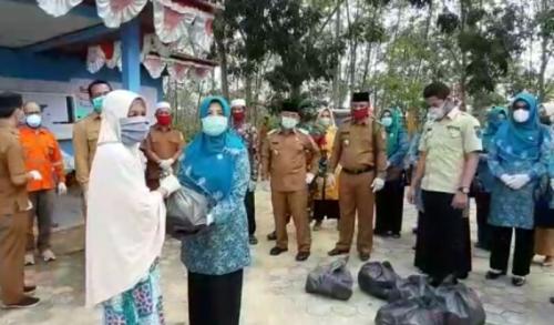Ketua TP PKK Pelalawan Salurkan Bantuan Sembako ke Warga di Kecamatan Langgam