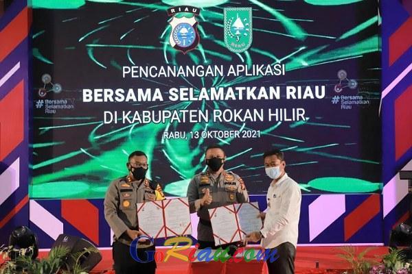 Terbukti Tekan Penyebaran Covid-19, Kapolda Riau Launching Aplikasi BSR di Polres Rohil