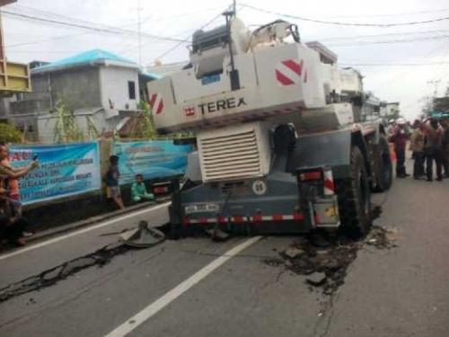 Ternyata Jalan Diponegoro Selatpanjang Hanya Mampu Menahan Beban 8 Ton