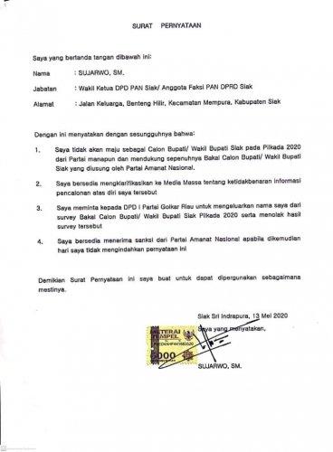 Maju di Pilkada Siak dari Golkar, Sujarwo Ingkari Pernyataan Diatas Materai 6000