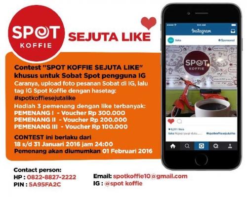 Mau Dapat Uang dari Instagram, Ikuti Kontes Sejuta Like di Spot Koffie Pekanbaru, Begini Caranya