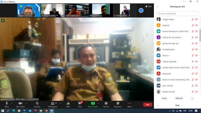Fikom Umri Gelar Webinar Bahas Bansos, Dinsos: 90 Persen Masyarakat Riau Sudah Merasakan