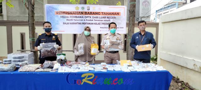Balai Karantina Pertanian Pekanbaru Musnahkan 57,7 Kg Paket Tanpa Sertifikat Kesehatan