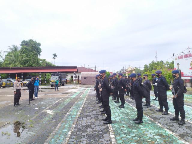 Pilkada Usai, Personel Brimob BKO Polda Riau yang Bertugas di Kepulauan Meranti Dipulangkan