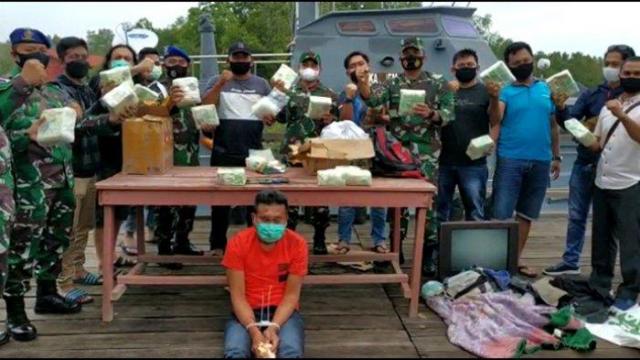 Dikemas dalam Teh Cina, Lanal Dumai dan Polda Riau Gagalkan Penyelundupan 20 Kg Sabu