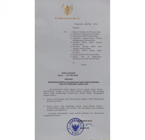 Batal Libur, BKD Riau: Tanggal 22 Mei, ASN Tetap Kerja