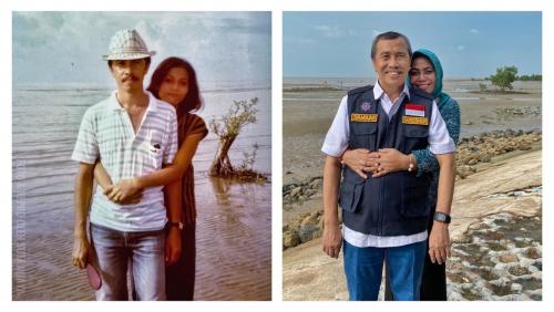 Romantisnya, Gubernur Riau dan Istri Bernostalgia di Pantai Selat Baru Bengkalis