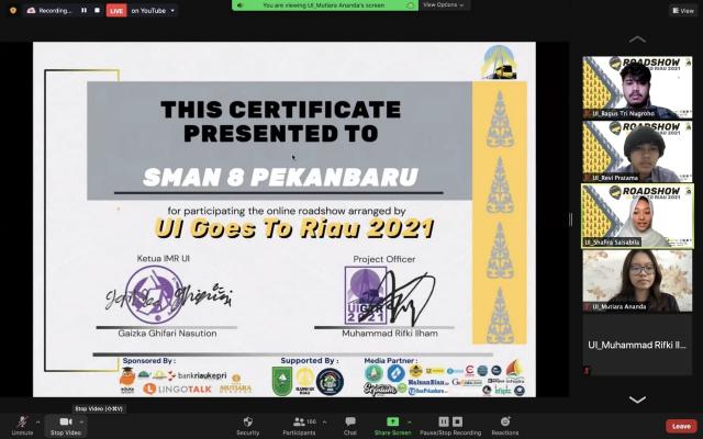 Roadshow Online UI Goes to Riau 2021 ke SMAN 8 Pekanbaru Terasa Spesial