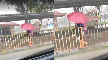 Mengharukan, Siswi Kelas Unggulan Gendong Temannya yang Autis Terobos Hujan