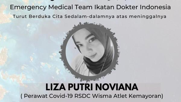 Gugur Terinfeksi Corona, Nakes Liza Putri Tak Pernah Pulang ke Rumah Sejak Bertugas di RSDC Wisma Atlet