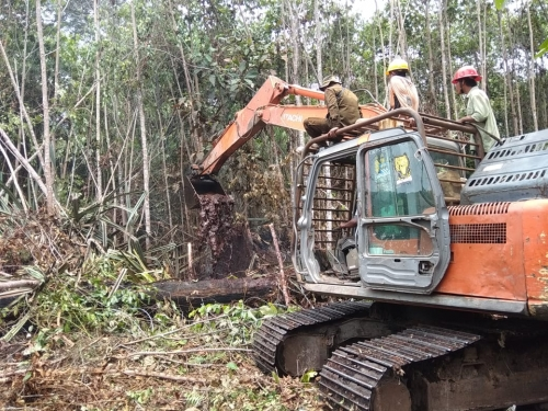Bantuan Alat Berat dari PT Arara Abadi Sangat Membantu Tim Damkar Atasi Kebakaran Hutan di SM Giam Siak Kecil