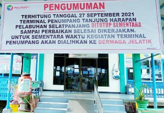Pelabuhan Tanjung Harapan Selatpanjang akan Ditutup Mulai 27 September