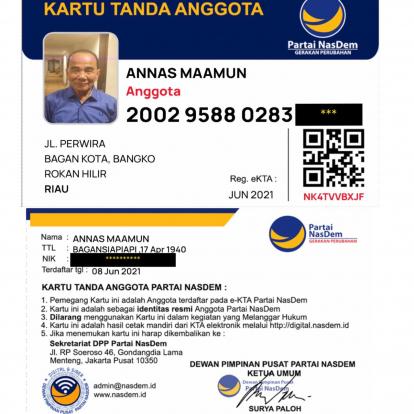 Foto E-KTA Nasdem Annas Maamun Beredar, Terdaftar Sejak 8 Juni 2021