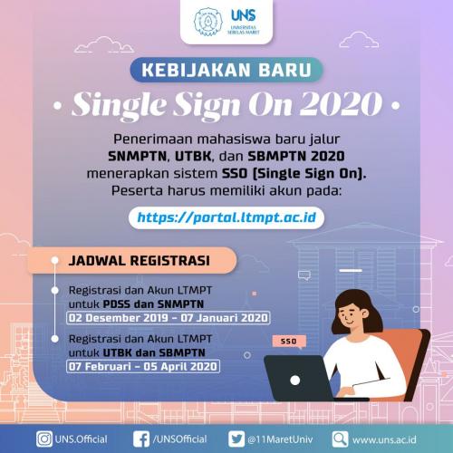 PMB Jalur SNMPTN, UTBK dan SBMPTN 2020 Gunakan Sistim SSO, Simak Penjelasannya