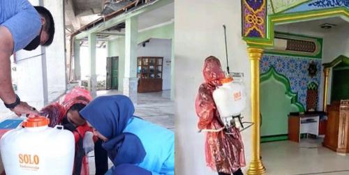 Tim Kukerta Balek Kampung Unri Lakukan Penyemprotan Disinfektan di Kelurahan Perhentian Marpoyan