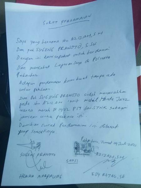 GoRiau Surat penyerahan jaminan pada